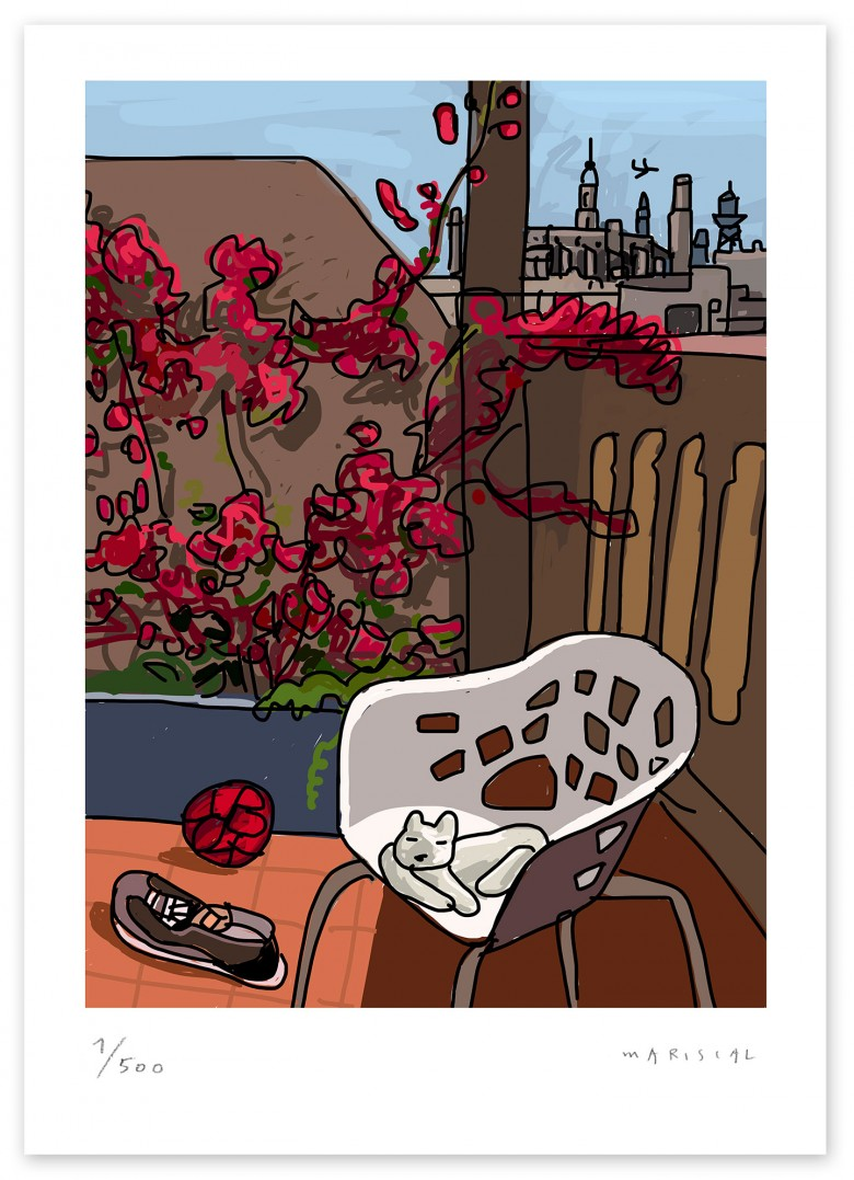 Terrace bougainvillea cat chair Miralook Barcelonaprint art digital giclee Javier Mariscal