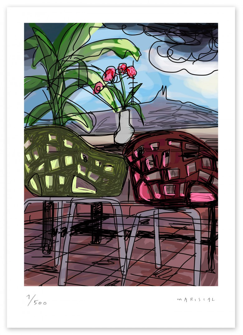 Miralook chair Barcelona terrace flowers art digital giclee Javier Mariscal