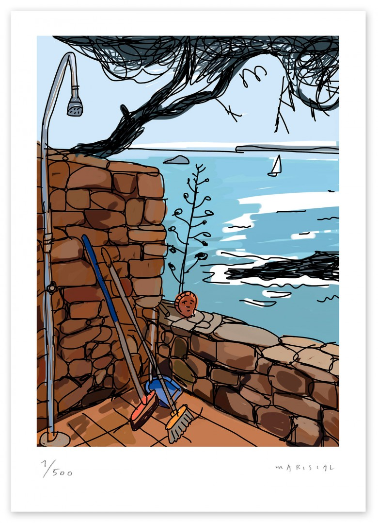Shower broom pine summer terrace mediterranean sea digital art giclee Javier Mariscal