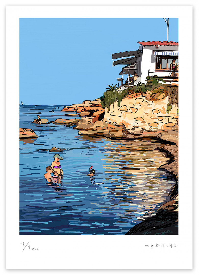 Mediterranean beach bar Helios Denia print illustration Javier Mariscal
