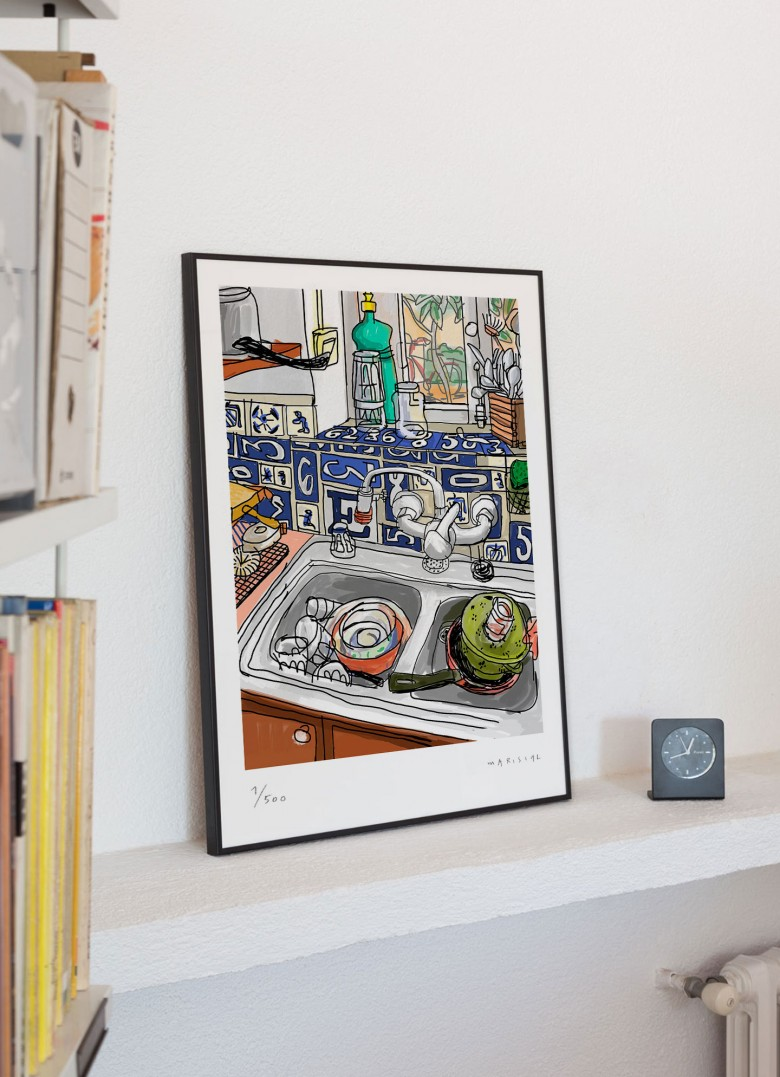 Interior still life print illustration giclée kitchen sink Javier Mariscal