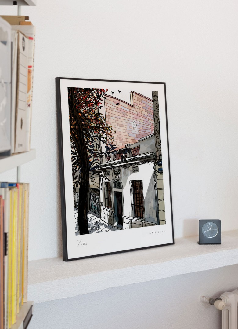 Barcelona Ciudad neighborhood Shadows trees Gracia Joanic art digital giclee print Javier Mariscal