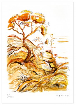 javier mariscal, art reproduction, limited edition, pine tree, sunset