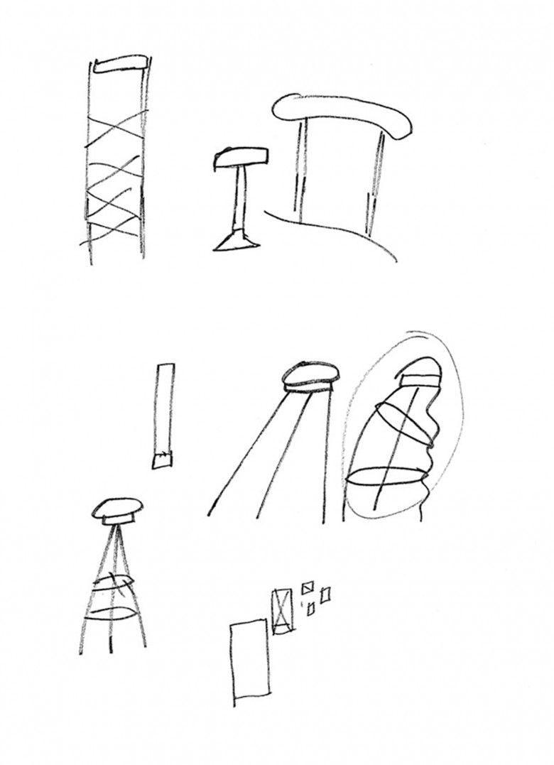 stool Duplex furniture vintage interior design bar sketch notes Javier Mariscal