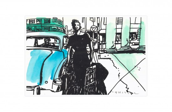 Chico & Rita havana taxi film watercolor print digital art javier mariscal