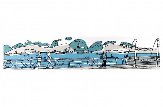 Sea boat panoramic serigraphy art Javier Mariscal
