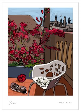 Terrace bougainvillea cat chair Miralook Barcelona print art digital giclee Javier Mariscal