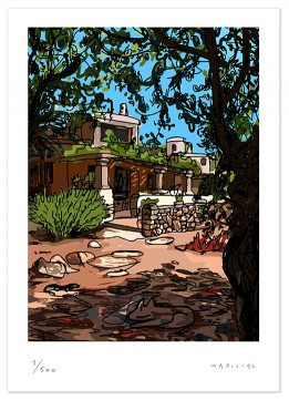 House Javea Porch Summer sun shade tree Julian digital art print giclee Javier Mariscal