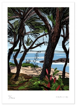 Julian mediterranean sea pines garriris illustration print Javier Mariscal