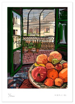 Terrace Barcelona Born fruits print art digital giclle Javier Mariscal