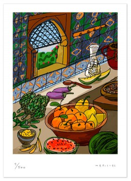 Andalusia Arabic fruit spices vegetables art digital print giclee Javier mariscal