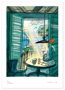 Interiors terrace barcelona print giclee digital art light javier Mariscal