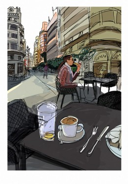 valencia city terrace sun coffe print digital art giclee Javier Mariscal