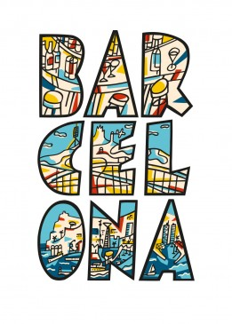 Sea bar sky waves Barcelona print Javier Mariscal